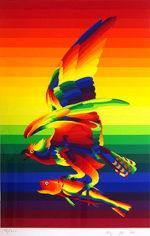靉嘔「虹をつかむ虹の鳥」版画47×31.5cm
