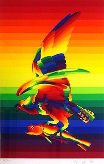 靉嘔「虹をつかむ虹の鳥」版画