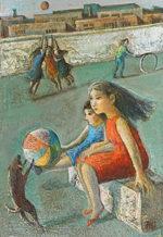 遠藤彰子「遠い日」油彩22.7×15.8cm