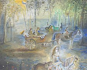 織田広比古「パリ・チュルリー公園」油彩