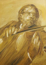 ワイズバッシュ「バイオリン奏者」油彩4号