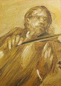 ワイズバッシュ「バイオリン奏者」油彩