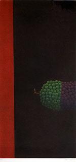 浜口陽三「ぶどうの房」銅版画52.3×24.2cm 1969年