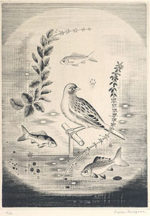 長谷川潔「金魚鉢の中の小鳥」銅版画27.9×20.5cm