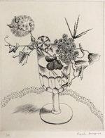 長谷川潔「酒盃に挿した野花」銅版画25.3×20.3cm