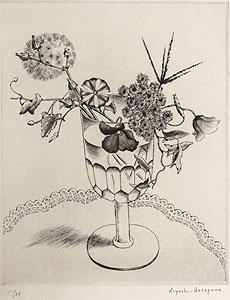長谷川潔「酒盃に挿した野花」銅版画
