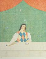 有元利夫「占いの部屋」版画37.5×31cm