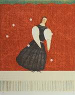 有元利夫「遊戯の部屋」版画37.5×31cm