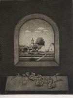 長谷川潔「窓辺卓子」銅版画33.6×27.1cm