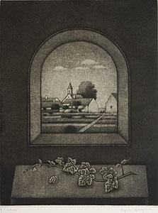 長谷川潔「窓辺卓子」銅版画