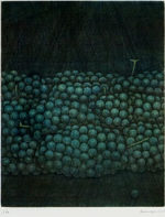 浜口陽三「緑のぶどう」銅版画24.4×19.3cm