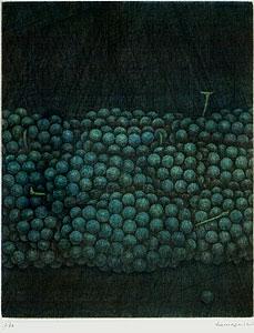 浜口陽三「緑のぶどう」銅版画