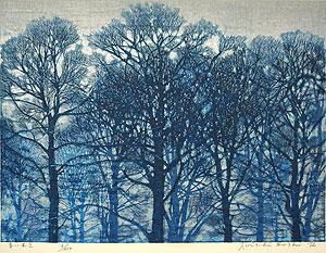 星襄一「青い木立」木版画