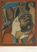 シュミアキン「サンクトペテルブルクのカーニバル」版画37×31cm