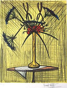 ベルナール・ビュッフェ「ガレの花瓶の花束」版画