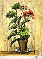 ベルナール・ビュッフェ「ゼラニウム」版画64×48cm