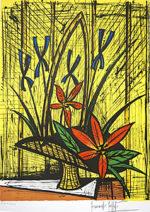 ビュッフェ「アイリスと赤い花束」版画67.4×50.3cm