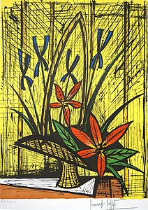 ベルナール・ビュッフェ「アイリスと赤い花束」版画