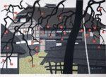 斎藤清「柿の会津(21)」木版画38.4×52cm