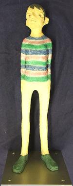 北川宏人「ストライプのセーター」彫刻 H57cm