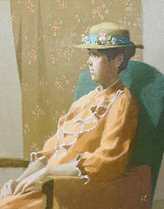 中村清治「座る婦人像」油彩