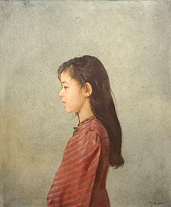 藤井勉「少女像」油彩