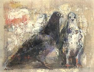 糸園和三郎「鳥」油彩