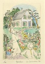 山本容子「garden」手彩色銅版画15.7×10cm