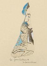 山本容子「Jean Cocteau☆」手彩色銅版画13×6cm