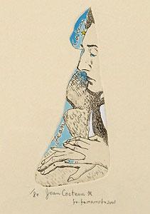 山本容子「Jean Cocteau☆」手彩色銅版画
