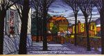 クリフトン・カーフ「モンマルトル近郊」木版画31×57cm