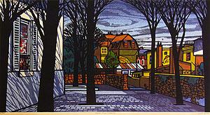クリフトン・カーフ「モンマルトル近郊」木版画
