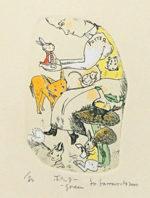 山本容子「ポッター green」手彩色銅版画9.5×6cm