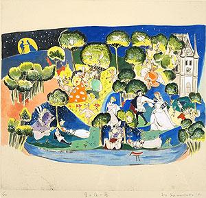 山本容子「夏の夜の夢」手彩色銅版画