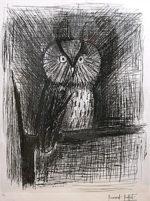 ベルナール・ビュッフェ「小さなフクロウ」銅版画61.5×46cm