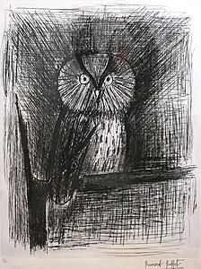ベルナール・ビュッフェ「小さなフクロウ」銅版画
