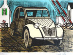ベルナール・ビュッフェ「シトロエン2CV」版画50×65.5cm