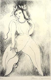 マリー・ローランサン「首飾りの乙女」銅版画