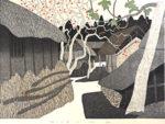 斎藤清「柿の会津(3)」木版画37.7×53.2cm