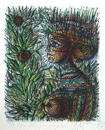 ジャン・カルズー「花と女」版画20×16cm