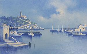 樋口治平「教会のある港」油彩