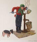 ノーマン・ロックウェル「ウインターモーニング」版画53.5×51cm