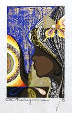 中山正「蝶と少女と」木版画1974年