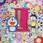 村上隆『お花畑の中の「どこでもドア」』ポスター 2019年