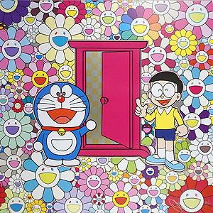 村上隆『お花畑の中の「どこでもドア」』ポスター