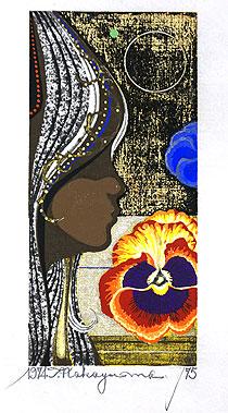 中山正「花と少女と」木版画1974年
