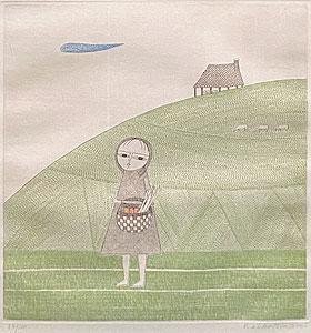 南桂子「少女と三匹の羊」銅版画