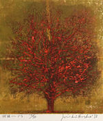 星襄一「樹林-ひる」木版画 1973年