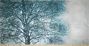 星襄一「木の風景 B (風)」木版画