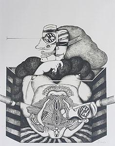 平賀敬「仮面」版画